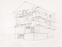 Opinión de perspectiva de la casa moderna Imágenes de archivo libres de regalías