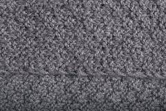 Opinión de perspectiva de la tela gris hecha punto de las lanas, fondo de la materia textil Fotografía de archivo libre de regalías