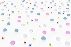 Opinión de perspectiva del ejemplo 3d de drogas con diversas formas y colores también usables como textura o modelo fotografía de archivo libre de regalías