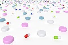 Opinión de perspectiva del ejemplo 3d de drogas con diversas formas y colores también usables como textura o modelo ilustración del vector