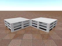 Opinión de perspectiva del grupo de plataformas blancas en suelo de baldosas marrón libre illustration