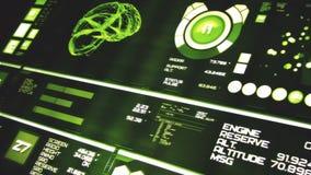 Opinión de perspectiva del interfaz futurista de color verde oscuro/de Digitaces screen/HUD