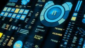 Opinión de perspectiva del interfaz futurista colorido/de Digitaces screen/HUD