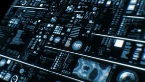 Opinión de perspectiva del interfaz/de la pantalla futuristas azules profundos de Digitaces