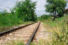 Opinión de perspectiva de las trayectorias del ferrocarril viejo en las delanteras verdes Fotos de archivo libres de regalías