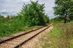 Opinión de perspectiva de las trayectorias del ferrocarril viejo en las delanteras verdes Fotografía de archivo libre de regalías