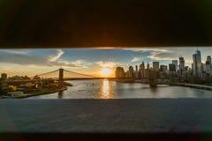 Opinión de puente de Brooklyn del puente de Manhattan en Nueva York Fotos de archivo