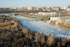 Opinión de River Valley del invierno en Edmonton foto de archivo