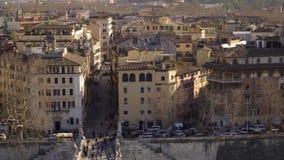 Opinión de Roma, Italia, Europa de Castel Sant Angelo el día de verano Gaviotas almacen de video