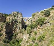 Opinión de Ronda Panoramic sobre Puente Nuevo, España Fotografía de archivo