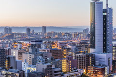 Opinión de Shin-Osaka Sunrise Imagenes de archivo
