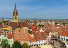Opinión de Sibiu del campanario de la basílica Fotografía de archivo libre de regalías