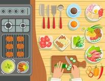Opinión de sistema de elementos del proceso de cocinar de la parrilla del café desde arriba libre illustration