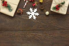 Opinión de sobremesa del concepto de la Feliz Navidad y de la Feliz Año Nuevo Foto de archivo libre de regalías