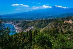 Opinión de Taormina Imagenes de archivo