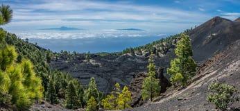 Opinión de Teide de los volcanes de Palma del La Foto de archivo
