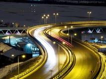 Opinión de Timelapse sobre tráfico de ciudad de la noche almacen de metraje de vídeo