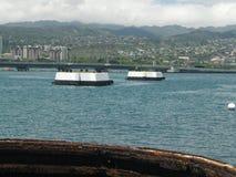 Opinión de torrecilla de arma de USS Missouri Imagen de archivo
