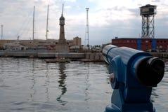 Opinión de Vell del puerto de Barcelona Imagenes de archivo