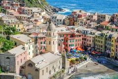 Opinión de Vernazza Cinque Terre Foto de archivo libre de regalías