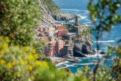 Opinión de Vernazza Cinque Terre Imagen de archivo