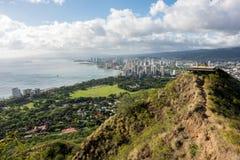 Opinión de Waikiki de Diamond Head Imagenes de archivo