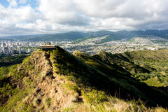 Opinión de Waikiki de Diamond Head Fotos de archivo