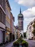 Opinión de Wittenberg con el Schlosskirche foto de archivo libre de regalías