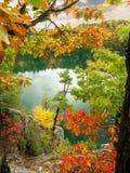 Opinión del acantilado del otoño del parque rosado 2 de Gatineau del lago Foto de archivo libre de regalías