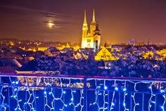 Opinión del advenimiento de la tarde de la catedral de Zagreb Fotografía de archivo