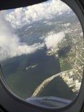 Opinión del aeroplano de las llaves del sur de la Florida Foto de archivo