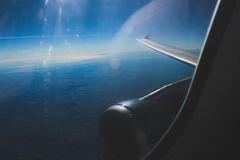 Opinión del ala del cielo azul Fotos de archivo libres de regalías