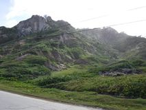 Opinión del borde de la carretera de la ladera de Barbados Fotografía de archivo