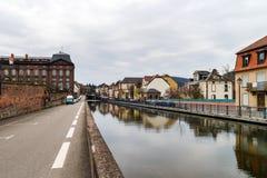 Opinión del canal de Marne-Rhin en Saverne, Francia foto de archivo libre de regalías