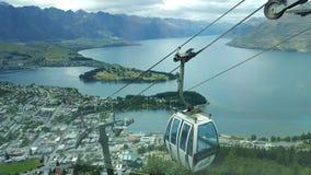 Opinión del carro del cable de Queenstown Nueva Zelanda del carro del cable Fotografía de archivo