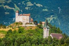 Opinión del castillo de Vaduz, Lichtenstein Imagen de archivo