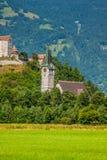 Opinión del castillo de Vaduz, Lichtenstein Imagenes de archivo