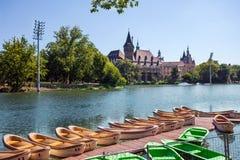 Opinión del castillo de Vajdahunyad, Budapest fotos de archivo libres de regalías
