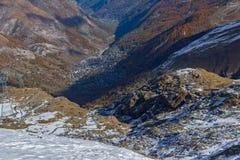 Opinión del centro turístico de Zermatt abajo sobre, montañas, cantón de Valais Fotos de archivo libres de regalías