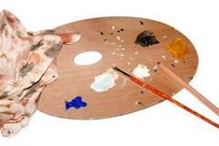 Opinión del cierre del pallete del color de los artistas Imagen de archivo libre de regalías