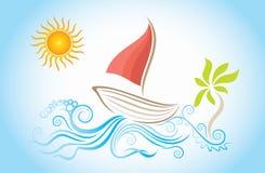 Opinión del día de fiesta con el velero stock de ilustración