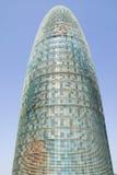 Opinión del día de Torre fálico-formado Agbar o de la torre de Agbar en Barcelona, España, diseñada por Jean Nouvel, septiembre d Imagenes de archivo