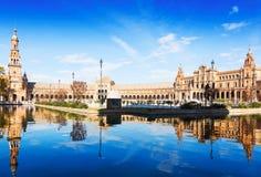 Opinión del día Plaza de Espana en Sevilla fotografía de archivo libre de regalías
