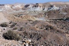 Opinión del desierto del Néguev de Nahal Tzin Fotografía de archivo