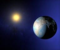Opinión del espacio de la tierra Asia y Oriente Medio Foto de archivo libre de regalías