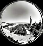 Opinión del fisheye del puerto deportivo Mirada artística en blanco y negro Imagen de archivo libre de regalías