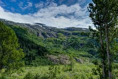 Opinión del glaciar de Whittier en Alaska los Estados Unidos de América Foto de archivo libre de regalías