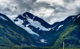 Opinión del glaciar de Whittier en Alaska los Estados Unidos de América Fotos de archivo libres de regalías