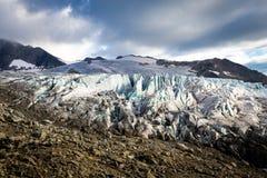 Opinión del glaciar, montañas del macizo de Mont Blanc, Francia fotografía de archivo