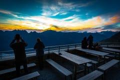 Opinión del glaciar, montañas del macizo de Mont Blanc, Francia fotografía de archivo libre de regalías